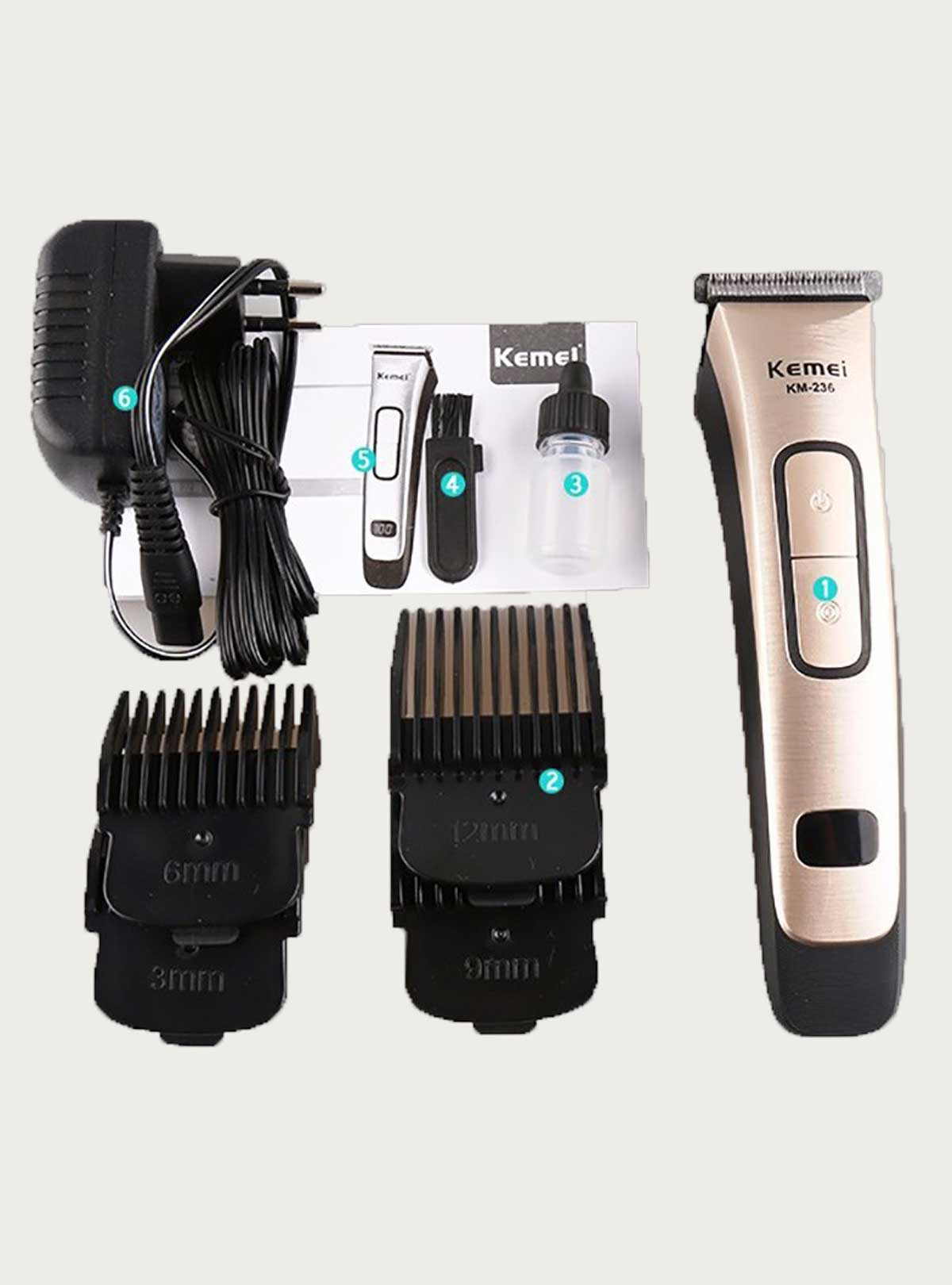 Kemei KM-236 Professional Rechargeable Electric Hair Clipper & Trimmer