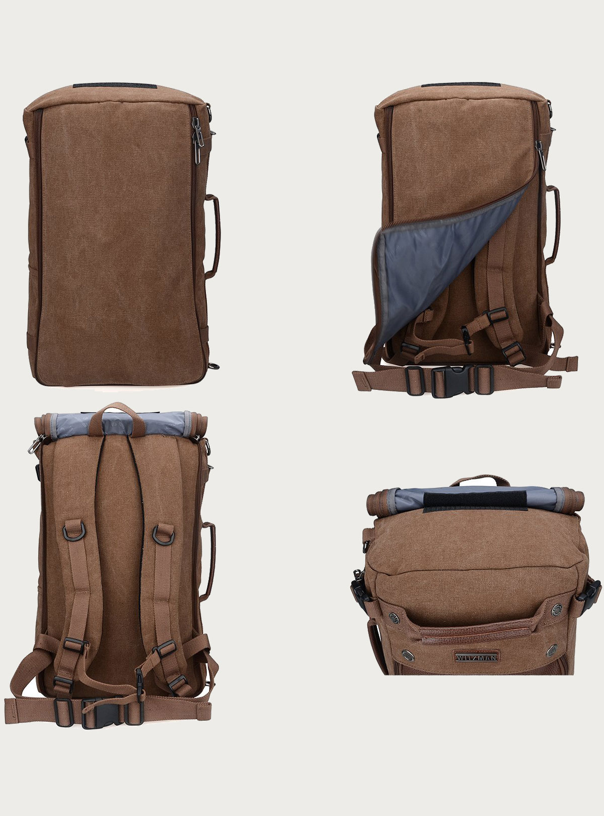 Witzman Men's Vintage Duffle Bags for Men Canvas Shoulder Outdoor Travel Backpack A2020 Brown