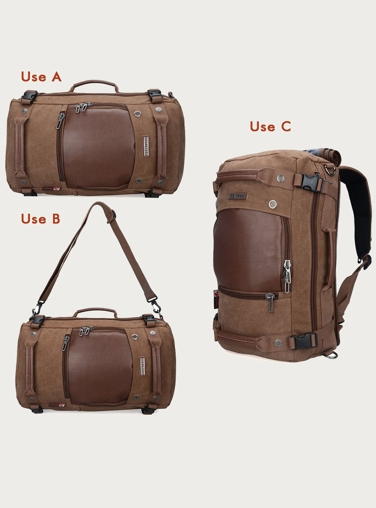 7ee4b5266f Witzman Men s Vintage Duffle Bags for Men Canvas Shoulder Outdoor Travel  Backpack A2020 Brown