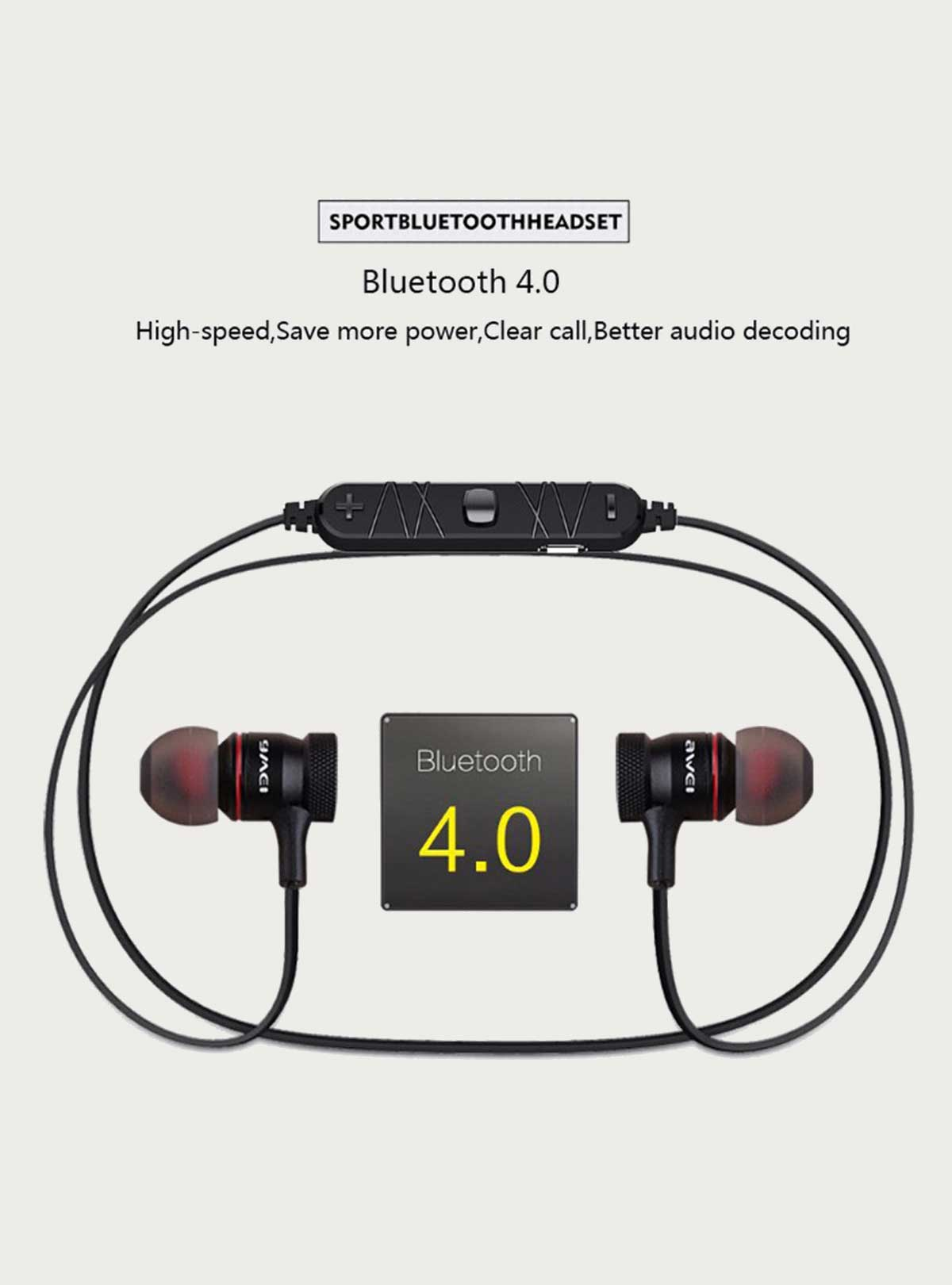Awei A920BL Wireless sports earbuds stereo earphones, Noise Reduction bluetooth sport headset with m