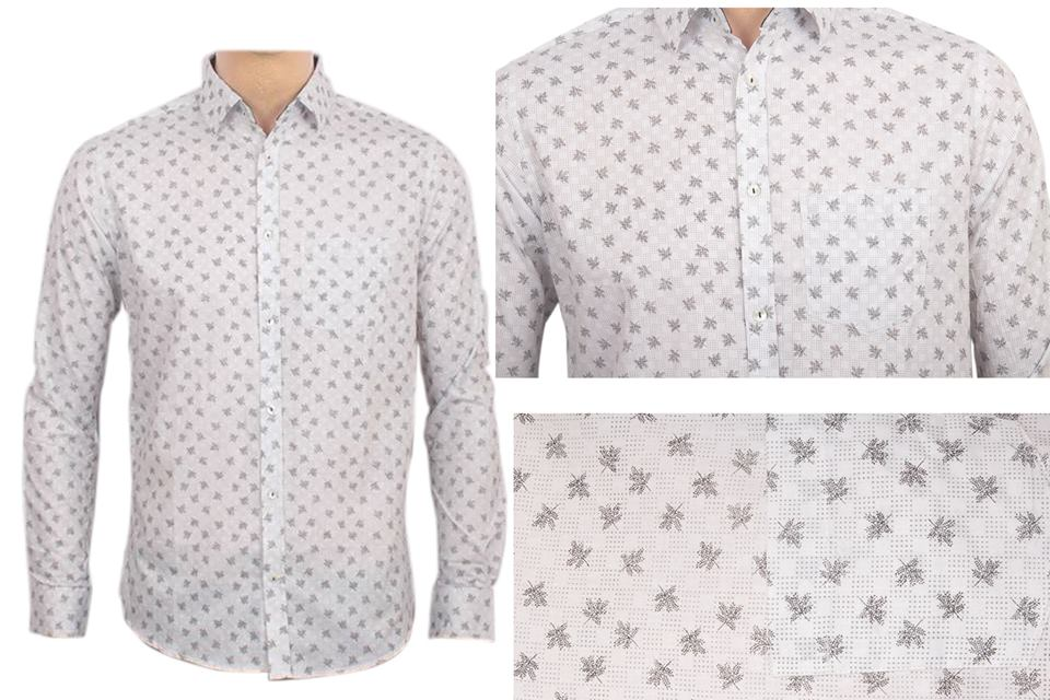 Men's Printed Cotton Casual Long Sleeve Shirt - Off White