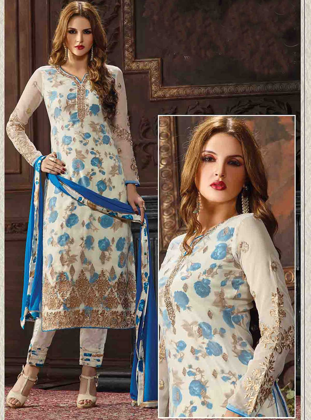 Original indian georgette 4 piece with embroidery
